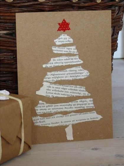DIY Christmas Cards - Old Hymnal Tree - Click pic for 25 Holiday Crafts