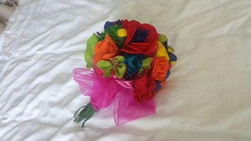 Fabric flower bouquet by Ribbons and Tulle on Twitter