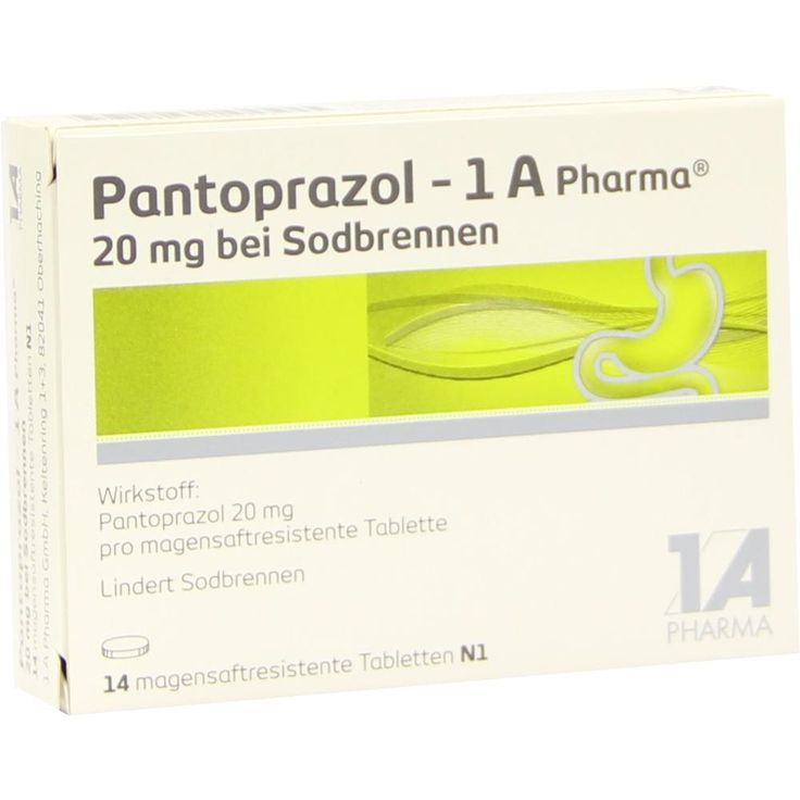 PANTOPRAZOL 1A Pharma 20 mg bei Sodbrennen msr.Tabletten:   Packungsinhalt: 14 St Tabletten magensaftresistent PZN: 06486311 Hersteller:…