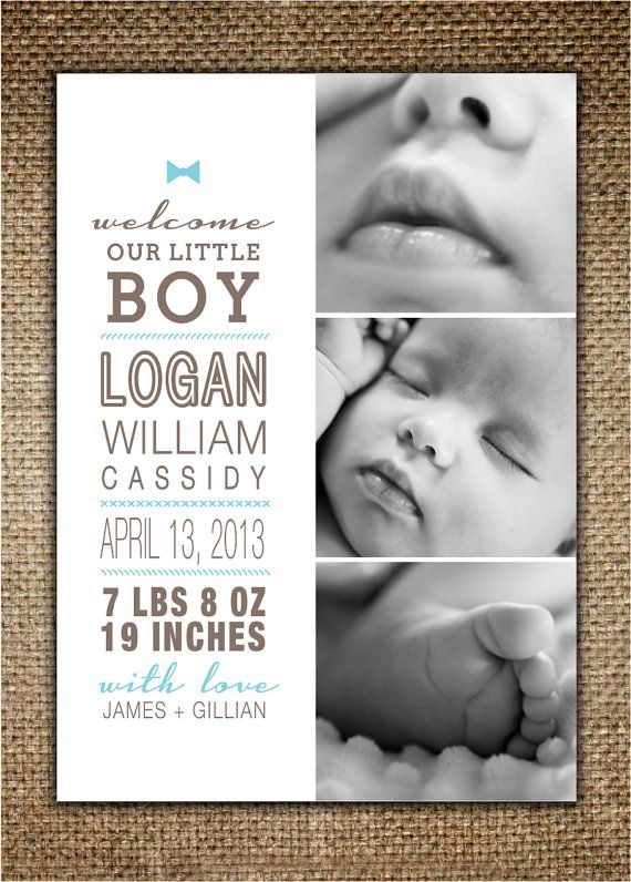 Cute :) Baby's Birth Announcement 3Photo Layout for Boy by BrownDogPress, $18.00