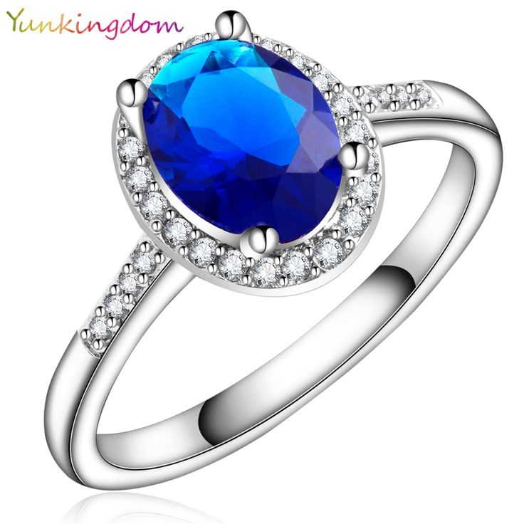 Yunkingdom New oval style White gold plated Ring synthetic sapphire zircon Wedding Rings for Women Fashionable jewelry X0022