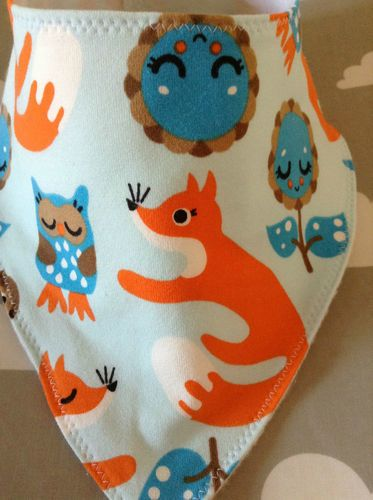 Handmade Baby Bandana Dribble Bib Scandinavian Swedish ZNOK Blue Fox owls fabric
