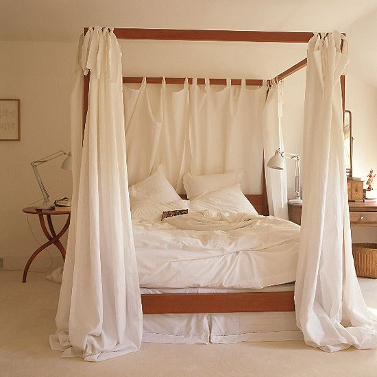Getting a wrought iron canopy bed in a few months..needing to figure out curtain ideas...lovin this!