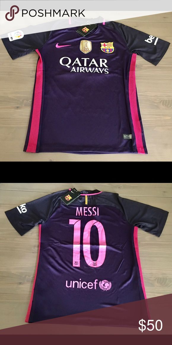 Messi #10 16/17 Barcelona away purple soccer Messi #10 New Season 16/17 Barcelona Barca away purple Jersey liga Beko Patch Soccer Nike Gold fifa patch Nike Shirts Tees - Short Sleeve