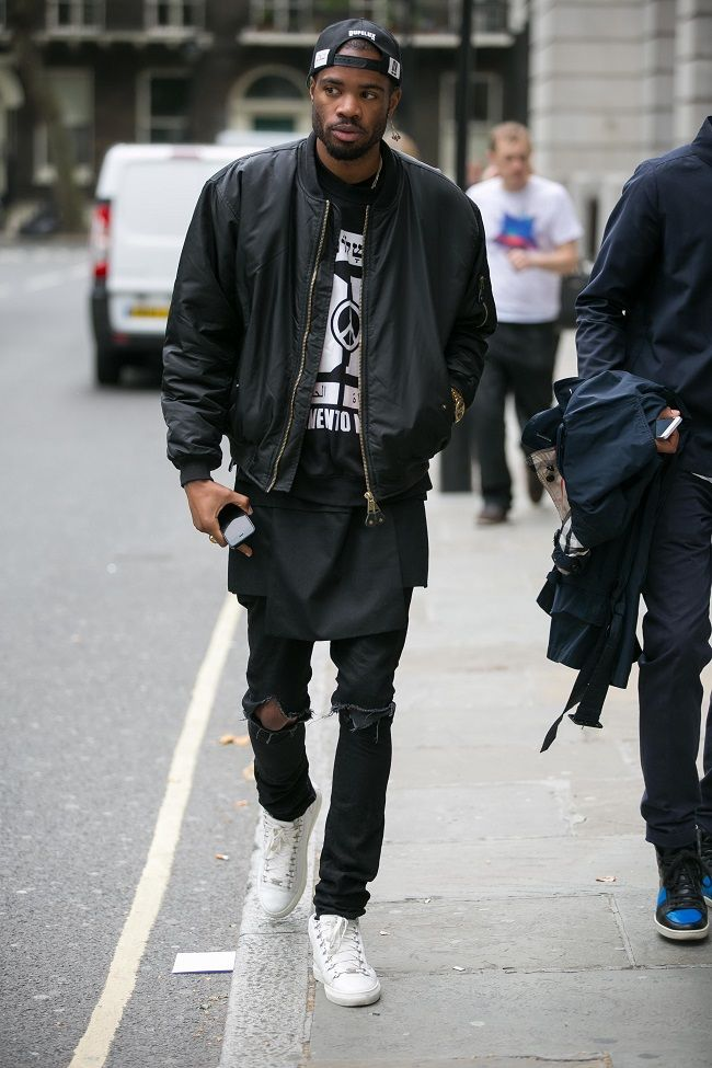 Street style, black bomber layered with graphic tee, black tank , and  ripped jeans