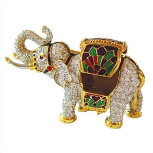 Swarovski Crystals! Indian Elephant Box w/ Howdah Saddle Blanket 24K Gold Jew... Dazzlers. $69.95. Miniature Elephant is decorated with a Howdah Saddle Side Blanket  (blanket lifts off to show secret compartment!). Stocked on site! Quick Delivery! (See this item's detailed specifications below.). Certificate of Authenticity included. Limited edition item which is sure to grow in value over time.. Arrives in a padded, satin lined Presentation Box. 100% Satisfaction Guar...