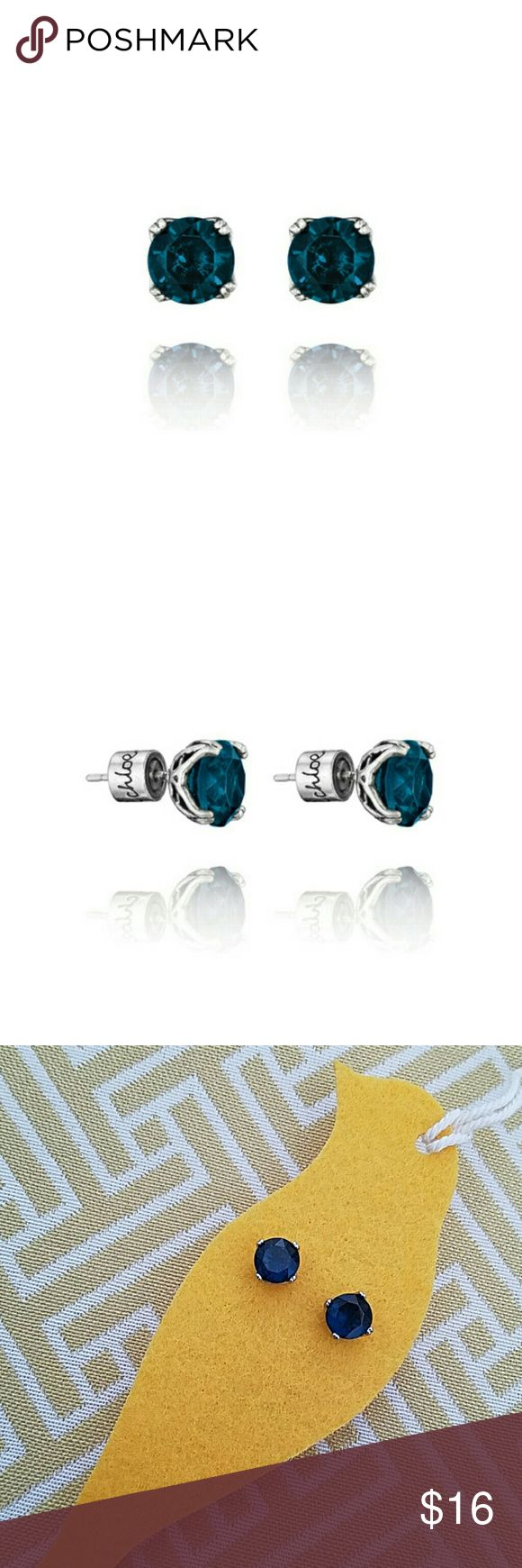 C+ I Sapphire Stud Earrings Antique Rhodium Plating With Sapphire Glass  Stainless Steel Post