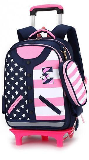 Kids Trolley Schoolbags for Girls Removable Wheeled Backpack for School Cartoon 3D Children Rolling Backpack Kids Mochila