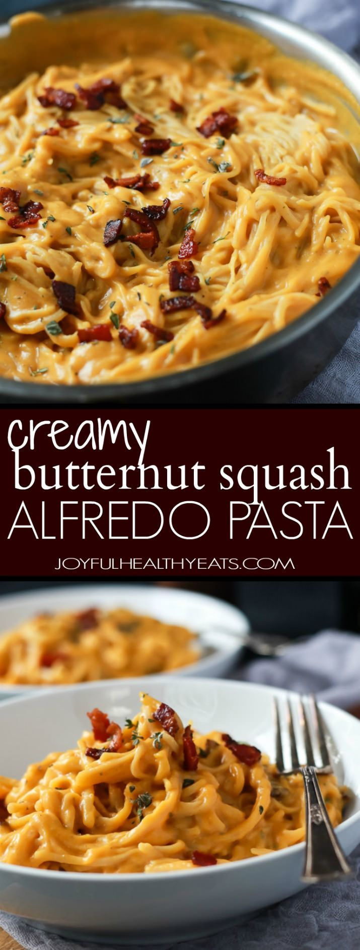 Cremige Butternut Squash Alfredo Pasta durchdrungen mit frischem Salbei und Thymian dann mit einer Garnitur von salzigen Speck auf perfektioniert! Der Rückgang Rezept ist seidig glatt, saftig, gesund und absolut süchtig. | joyfulhealthyeats.com #glutenfree #fall
