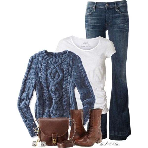 Love the classic look of the light blue cable knit pullover and the deep, rich leather purse and boots.