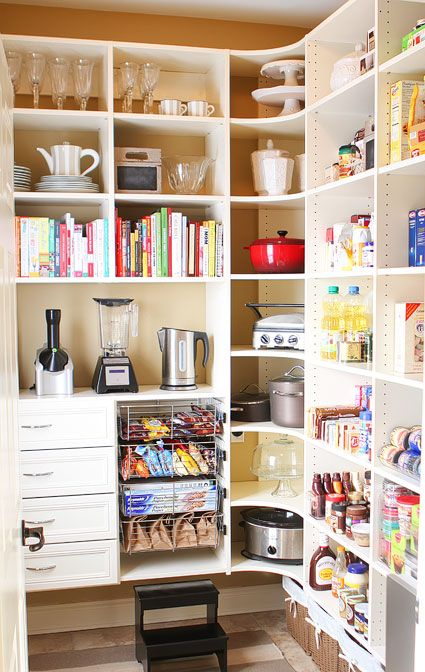 Walk-in pantry organization with a place for everything including appliances and entertaining dishes.