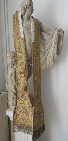 ANTIQUE FRENCH RELIGIOUS STOLE METALLIC EMBROIDERY 19TH-CENTURY