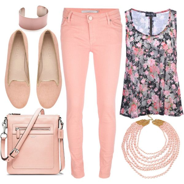 """Floral print shirt and pink jeans outfit"" by esperanzandrea on Polyvore"