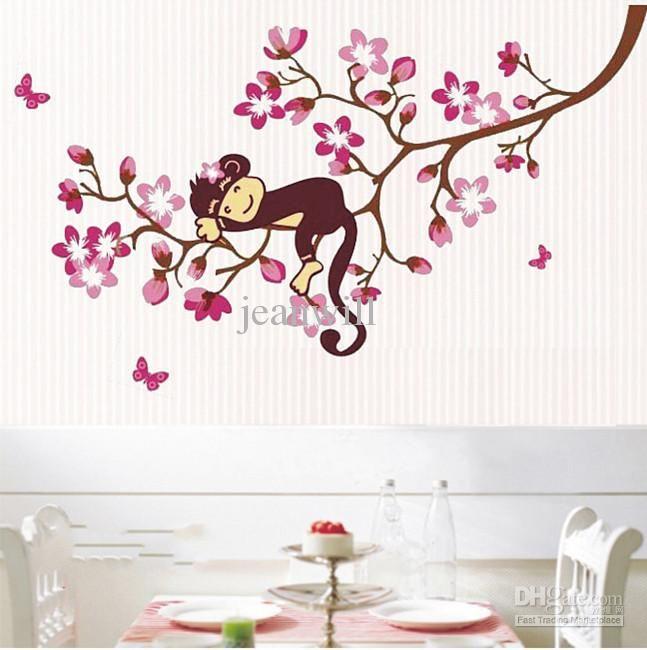 Monkey Flower Tree Removable Wall Sticker Decal Kids Room Nursery Wall Decor Decoration Jm8091