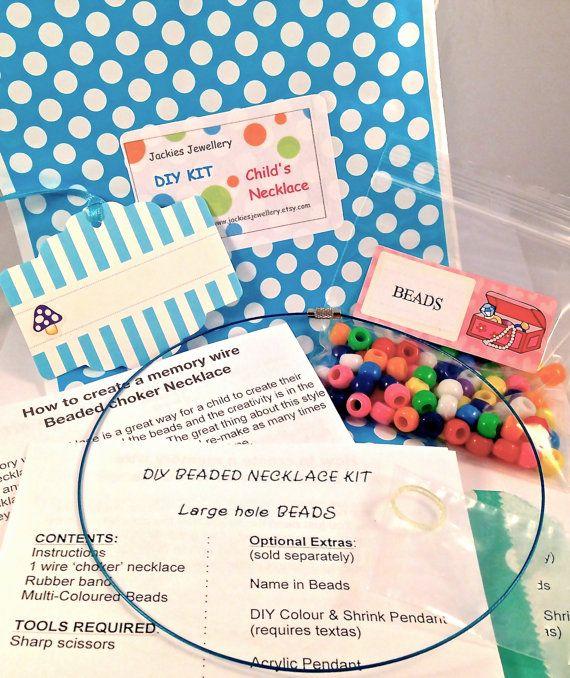 Girls DIY Bold Beaded necklace Kit make it by JackiesJewellery