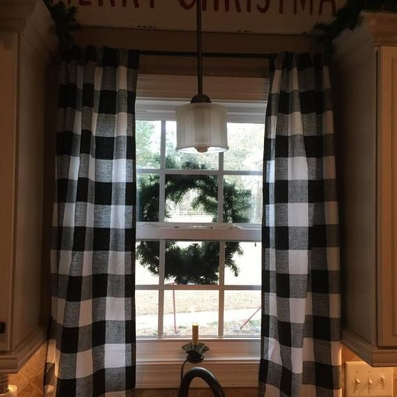 Buffalo Check Curtains Two Panels Included Black And White