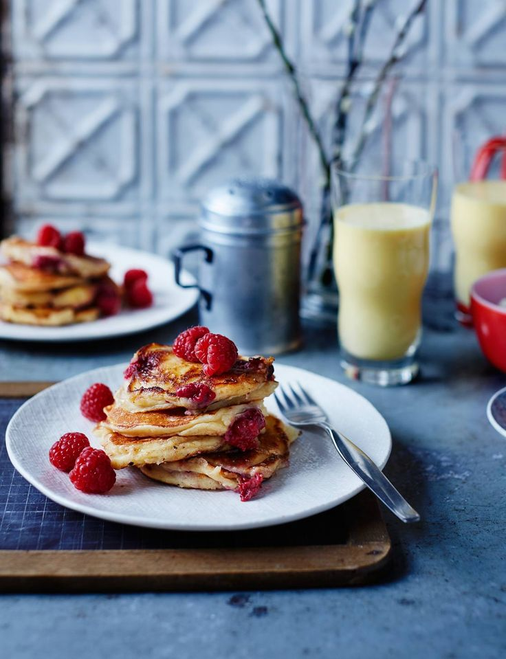 Light and fluffy ricotta and raspberry pancakes from chef Anna Hansen of The Modern Pantry in London. A dollop of crème fraîche and a sprinkling of pistachios would complete this fine looking brunch dish.