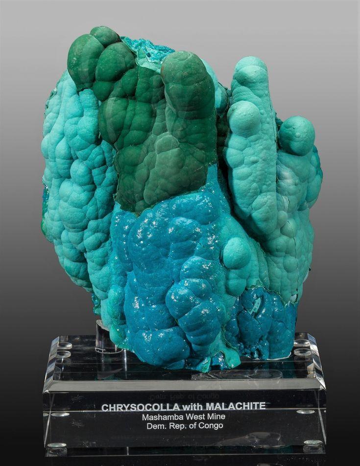 Chrysocolla & Malachite Stalactite - Mashamba West Mine, Kolwezi District, Katanga Copper Crescent, Katanga, D.R. Congo