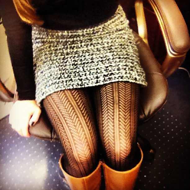 Must-have accessory for Fall: Printed tights! We love these Herringbone skirt paired perfectly with knee-high boots.