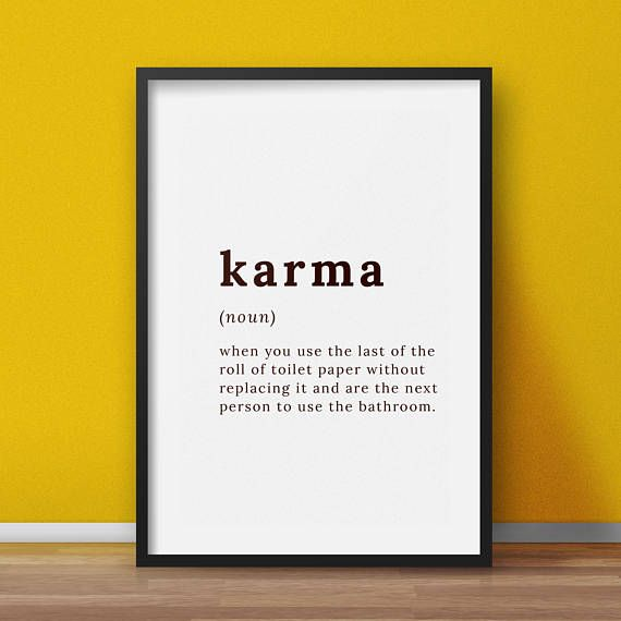 Karma definition  Karma quote Karma printable bathroom