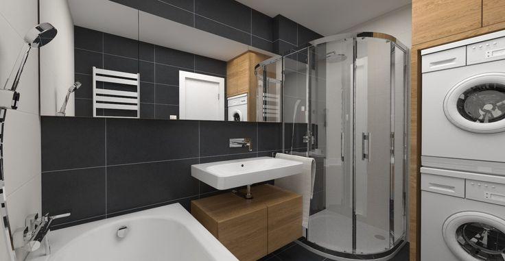 Návrh a vizualizácia kúpeľne v modernom čiernom prevedení s dreveným akcentom. Obklady od firmy RAKO - séria TREND v rozmere 29,8x59,8.