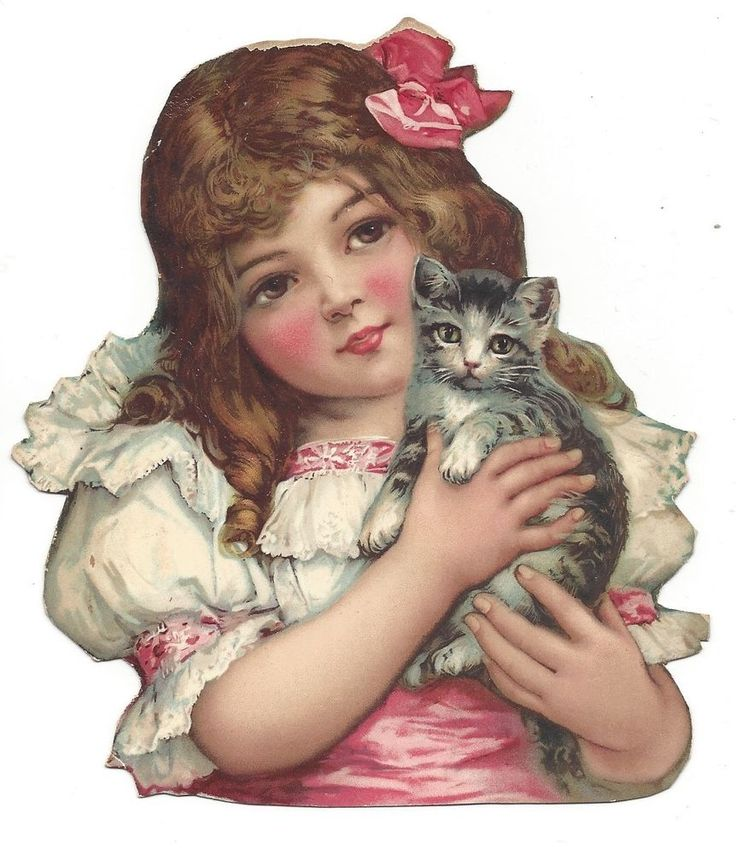 Victorian Die Cut Scrap Girl holding Kitten
