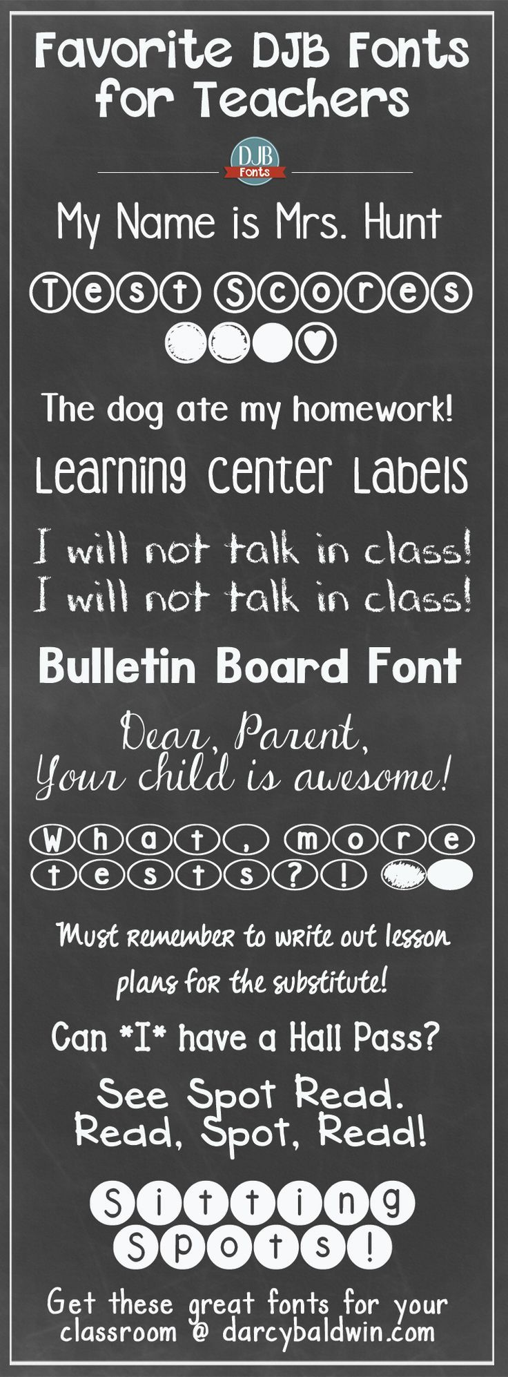 "Back to School is just around the corner!! Here are some free ""for the classroom"" fonts for teachers from DJB Fonts. Which is your favorite teacher font?"