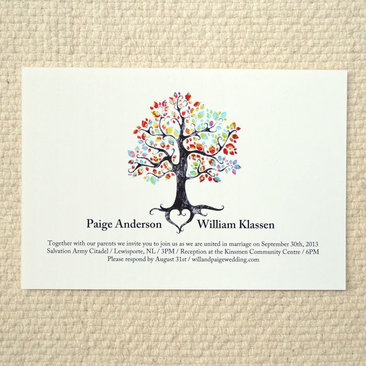 The bohemian tree wedding invitation diy printable pdf for Free printable tree wedding invitations