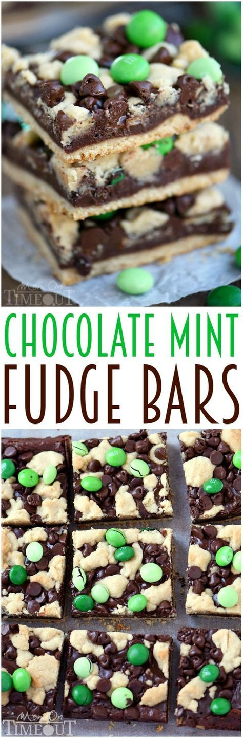 Indulge in these outrageously decadent Chocolate Mint Fudge Crumb Bars for the ultimate chocolate and mint treat!   http://MomOnTimeout.com   #recipe #dessert #chocolate #mint