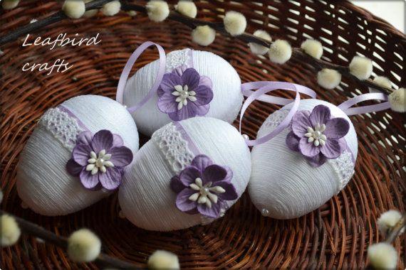 Satz von 4 Ostereier Ostereier Ostern-Dekor von Leafbirdcrafts