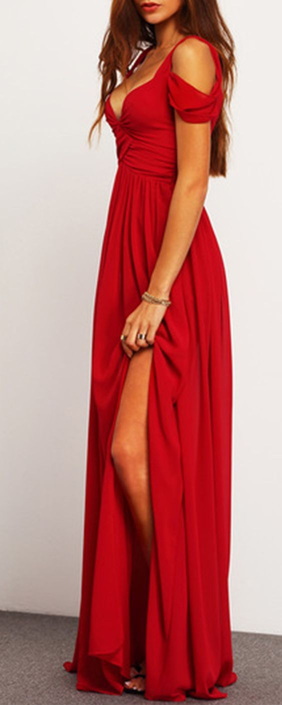 This bold off shoulder wine red V-neck maxi is a classic gown that will stop traffic. It has a long flowing hemline with a sexy side split. Red Carpet approved this attention getting silhouette is definitely screaming Hollywood glam.