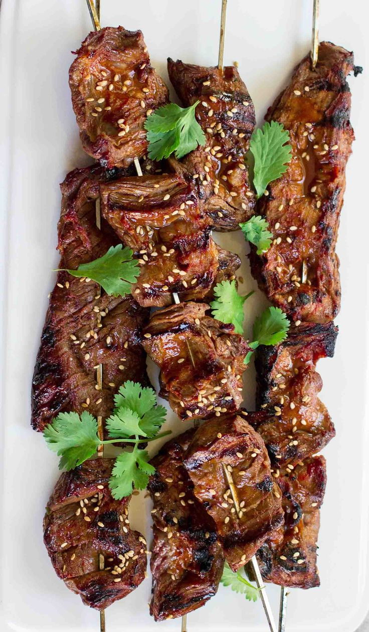 Korean Beef Skewers ~ These grilled Korean beef skewers are a little sweet, a little spicy from the gochujang (which is a Korean chili paste), and full of umami. The best part is that you can have them on the table in about a half hour. ~ SimplyRecipes.com