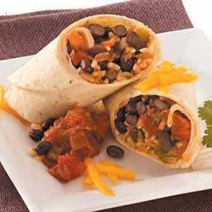 black beans and rice burritos
