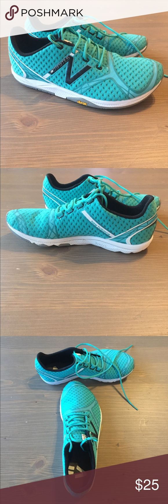 New Balance Minimus Trail Shoe. Trail running shoe with Vibram sole.  Very light weight!  Worn 2 times.  Excellent used condition.  Color is a teal/blue-green. New Balance Shoes Sneakers