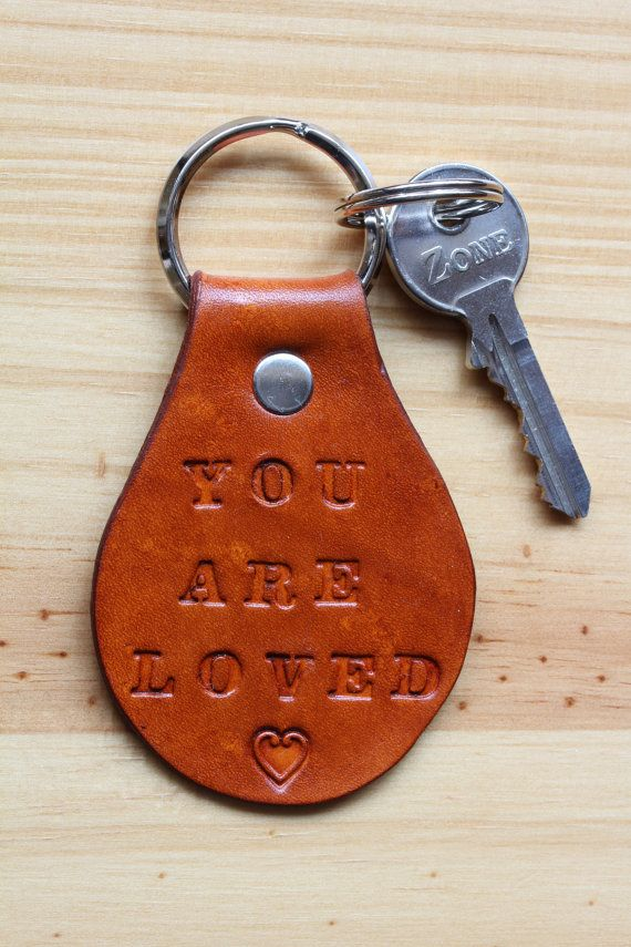 Handmade You Are Loved Keyring, Leather Keyring. Repin To Remember.