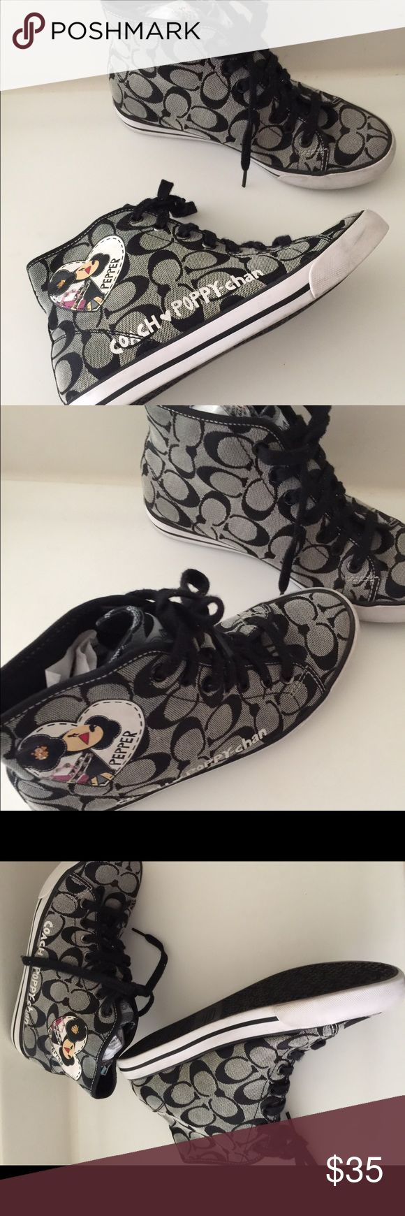 Coach Poppy Chan Pepper High Top Trainers Coach Poppy Chan Pepper high top sneakers in excellent preowned condition. Please take a look at the pictures and ask questions before purchase. Size:7.5  Signature Black greyish. Coach Shoes Sneakers