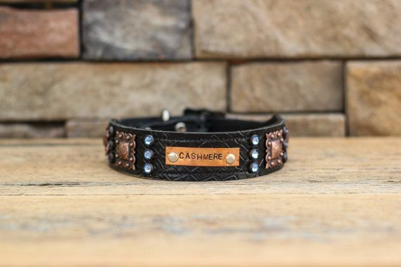 CUSTOM Leather Dog Collar // Black Croc w/ by WildHoundOutfitters
