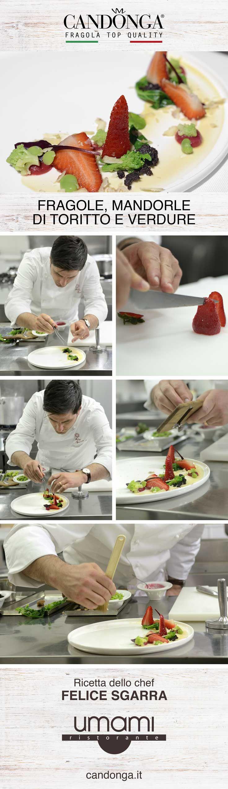Mandorle di Toritto, verdure e Candonga Fragola Top Quality®. Ancora una volta lo Chef stellato Felice Sgarra del ristorante Umami di Andria (BT) ci prende per la gola con questo antipasto delicato e gustoso. Nell'articolo #video e #foto. #candongatop #fragole #ricette #ricettestellari