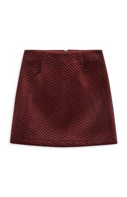 Embossed Velvet Mini Skirt