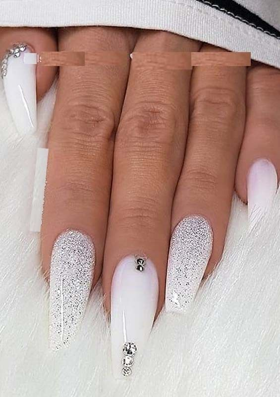 Gorgeous White Glitter Crystals On Long Coffin Nails For 2019