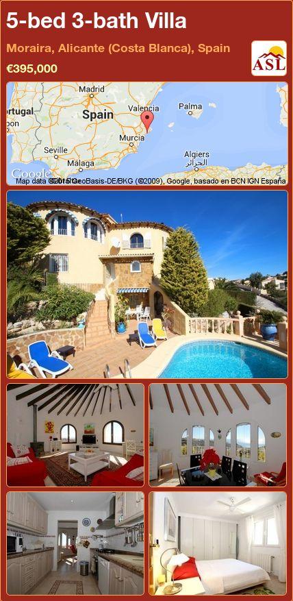 5-bed 3-bath Villa in Moraira, Alicante (Costa Blanca), Spain ►€395,000 #PropertyForSaleInSpain