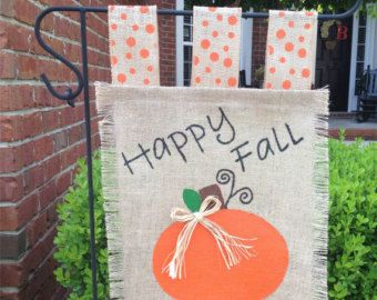 pumpkin burlap garden flag yard flag fall garden flag handpainted