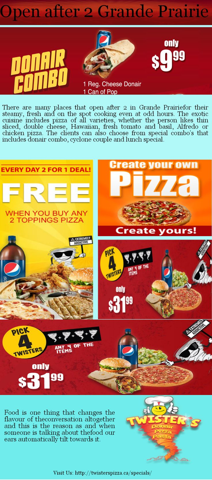 Find a late night pizza delivery restaurant in grande prairie. You can also order late for fast food service or buy directly from restaurant because it's open after 2 in Grande Prairie.