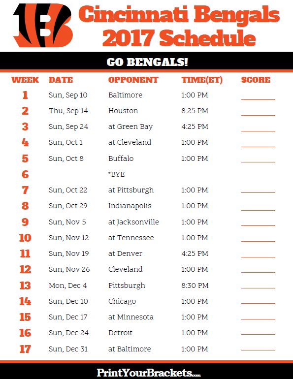 2017 Cincinnati Bengals Football Schedule