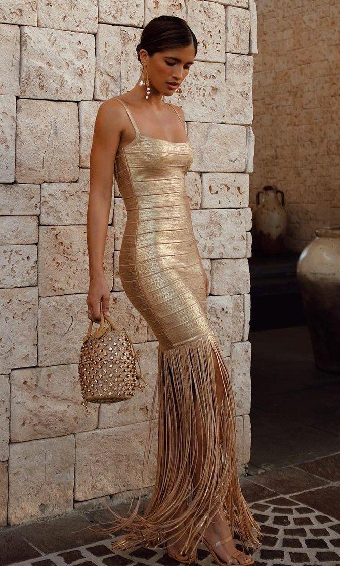 Go For The Gold Metallic Gold Sleeveless Spaghetti Strap Square Neck Fringed Bodycon Bandage Maxi Dress 9