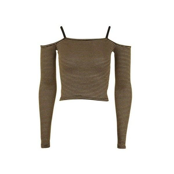 Topshop Stripe Bardot Top (96 BRL) ❤ liked on Polyvore featuring tops, gold, brown tops, striped long sleeve top, cut-out crop tops, long sleeve crop top and stripe top