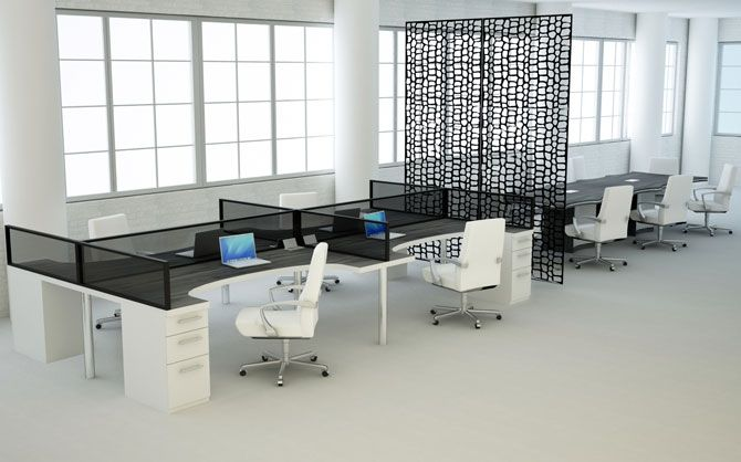 modern office furniture bench style workstation with black glass and