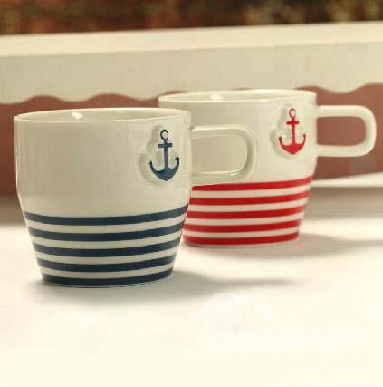 Navy Style Anchor Print Porcelain Coffee Cups