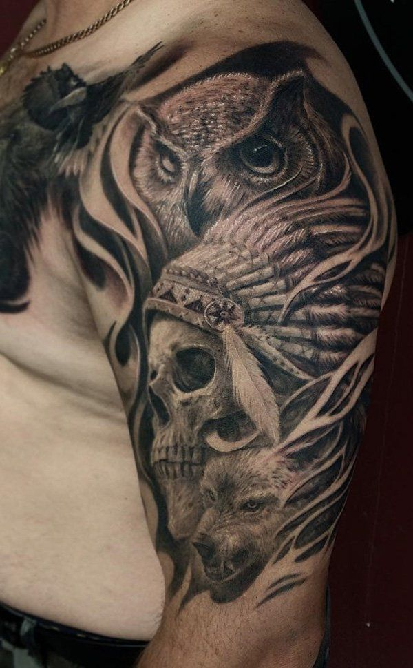 Owl with indian skull tattoo - 100 Awesome Skull Tattoo Designs  <3 <3