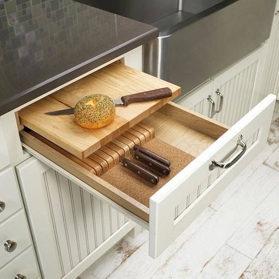 Knife and cutting board drawer